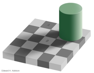 An optical illusion: our brains add information that isn't there.