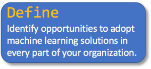 Define: Identify opportunities to adopt machine learning solutions in every part of your organization.