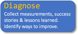 Diagnose: Collect measurements, success stories & lessons learned. Identify ways to improve.